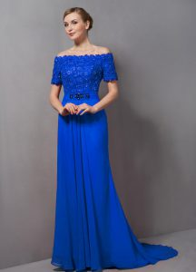 High Class Empire Short Sleeves Blue Prom Evening Gown Sweep Train Zipper