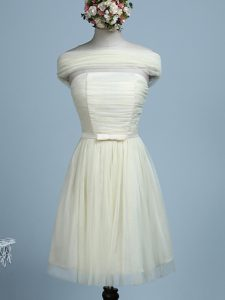 Light Yellow Empire Strapless Sleeveless Tulle Mini Length Side Zipper Belt Quinceanera Court of Honor Dress