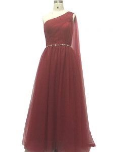 Chiffon Sleeveless Prom Dress Sweep Train and Beading and Pleated