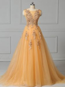 Dazzling Scoop Sleeveless Tulle Prom Dresses Appliques and Pattern Brush Train Lace Up