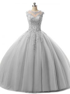 Ball Gowns Quinceanera Gown Grey Scoop Tulle Sleeveless Floor Length Lace Up