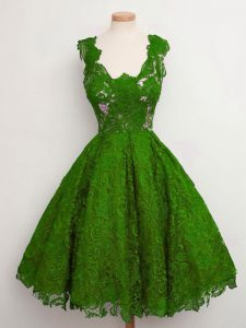 Stunning Knee Length A-line Sleeveless Green Quinceanera Court Dresses Lace Up