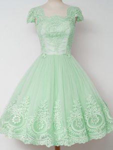 Modern Knee Length Apple Green Dama Dress for Quinceanera Tulle Cap Sleeves Lace