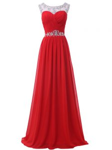 Flare Red Empire Scoop Sleeveless Chiffon Floor Length Backless Beading and Ruching
