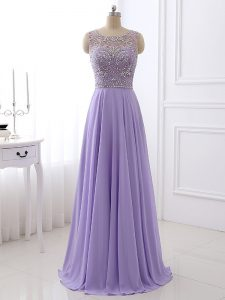 Lavender Zipper Beading Sleeveless Floor Length