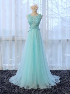 Adorable Apple Green Scoop Neckline Lace and Bowknot Quinceanera Dama Dress Sleeveless Zipper