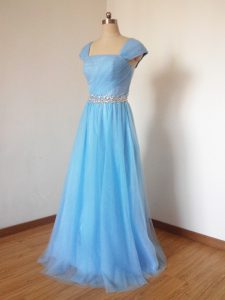 Lovely Baby Blue Zipper Square Beading Damas Dress Tulle Cap Sleeves