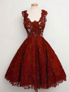 Rust Red Sleeveless Lace Knee Length Quinceanera Court of Honor Dress