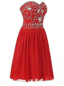 Red Zipper Sweetheart Beading Prom Dress Chiffon Sleeveless