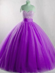 Affordable Floor Length Ball Gowns Sleeveless Eggplant Purple Ball Gown Prom Dress Lace Up