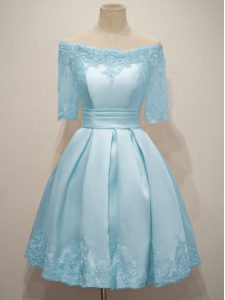 Pretty Knee Length Light Blue Damas Dress Taffeta Half Sleeves Lace