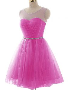 Fashionable Tulle Scoop Sleeveless Lace Up Beading and Ruching Prom Evening Gown in Fuchsia
