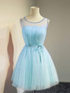 Comfortable Scoop Sleeveless Lace Up Dama Dress for Quinceanera Aqua Blue Tulle