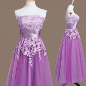 Edgy Tea Length Lace Up Court Dresses for Sweet 16 Purple for Prom and Party and Wedding Party with Appliques