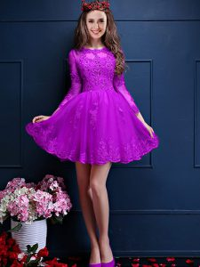 Mini Length Eggplant Purple Dama Dress for Quinceanera Chiffon 3 4 Length Sleeve Beading and Lace and Appliques