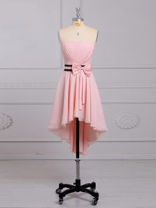 Baby Pink Sleeveless High Low Ruching and Bowknot Lace Up Dama Dress for Quinceanera