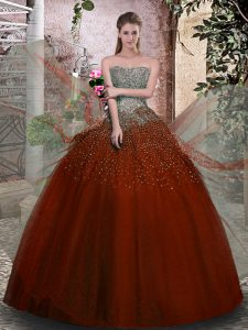 Elegant Sleeveless Lace Up Floor Length Beading Quinceanera Dresses