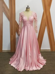 Long Sleeves Beading and Appliques Backless with Baby Pink