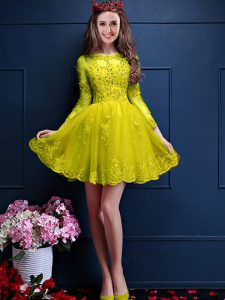 Glamorous Yellow Lace Up Scalloped Beading and Lace and Appliques Quinceanera Court Dresses Chiffon 3 4 Length Sleeve