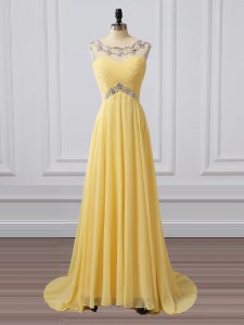 Chiffon Sleeveless Prom Evening Gown Brush Train and Beading and Ruching