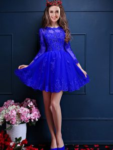 Beading and Lace and Appliques Dama Dress for Quinceanera Blue Lace Up 3 4 Length Sleeve Mini Length