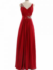 V-neck Sleeveless Chiffon Dress for Prom Beading and Ruching Zipper
