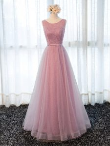 Ideal Floor Length Pink Prom Dresses Tulle Sleeveless Beading and Belt