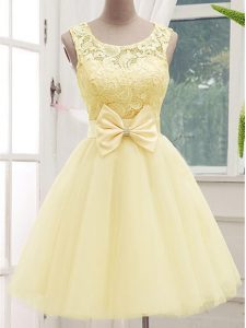 Hot Selling Sleeveless Lace Up Knee Length Lace and Bowknot Quinceanera Court of Honor Dress