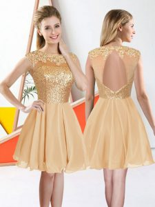 Trendy Champagne Sleeveless Chiffon Backless Court Dresses for Sweet 16 for Prom and Party