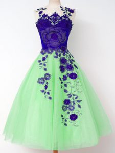 Dazzling A-line Appliques Quinceanera Court Dresses Lace Up Tulle Sleeveless Knee Length