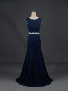 Fancy Navy Blue Homecoming Dress Prom and Military Ball and Sweet 16 and Beach with Beading Scoop Sleeveless Backless