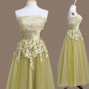 Trendy Olive Green Empire Tulle Strapless Sleeveless Appliques Tea Length Lace Up Quinceanera Court of Honor Dress