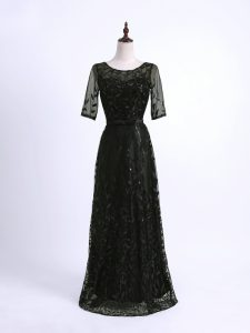 Exceptional Black Half Sleeves Lace and Appliques Floor Length Prom Dresses