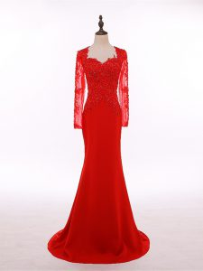 Fitting Scoop Long Sleeves Zipper Prom Dresses Red Chiffon
