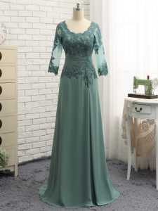 Scalloped Long Sleeves Chiffon Dress for Prom Lace and Appliques and Ruching Zipper