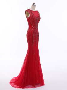 Most Popular Sleeveless Brush Train Beading Zipper Prom Evening Gown