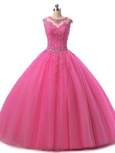 Hot Pink Tulle Lace Up Scoop Sleeveless Floor Length Sweet 16 Dress Beading and Lace
