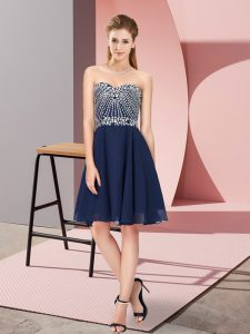 Sleeveless Knee Length Beading Lace Up Prom Dress with Navy Blue