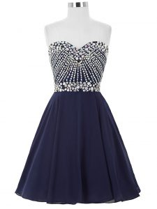 Fabulous Navy Blue A-line Chiffon Sweetheart Sleeveless Beading Mini Length Lace Up Prom Gown