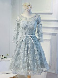 Knee Length Grey Prom Dresses Scoop Long Sleeves Lace Up