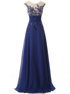 Blue Prom Party Dress Prom and Military Ball and Sweet 16 with Lace and Appliques and Ruching Scoop Sleeveless Zipper