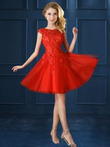 Cute Knee Length Red Quinceanera Dama Dress Tulle Cap Sleeves Lace and Appliques