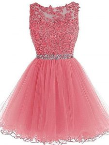 Gorgeous Beading and Lace and Appliques and Ruffles Prom Gown Pink Zipper Sleeveless Mini Length