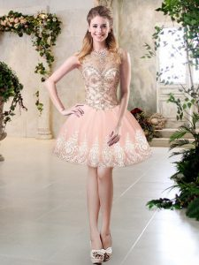 Designer Sleeveless Tulle Mini Length Lace Up Prom Party Dress in Peach with Beading and Lace and Appliques