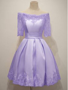 Taffeta Off The Shoulder Half Sleeves Lace Up Lace Quinceanera Court Dresses in Lavender