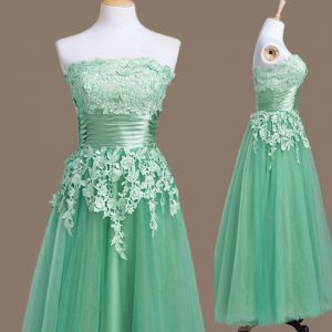 Turquoise Strapless Lace Up Appliques Quinceanera Court of Honor Dress Sleeveless