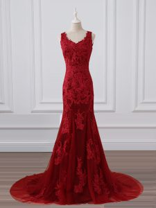 Red Zipper Evening Dress Lace and Appliques Sleeveless Brush Train