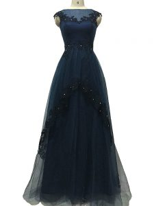 Clearance Navy Blue Zipper Bateau Lace and Appliques Dress for Prom Tulle Sleeveless