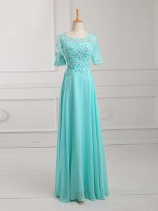 Half Sleeves Chiffon Floor Length Zipper Prom Dress in Aqua Blue with Lace and Appliques