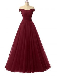 Exquisite Burgundy Off The Shoulder Lace Up Ruching Evening Dress Sleeveless